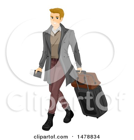 Clipart of a Sharply Dressed Male Traveler with a Passport and Luggage - Royalty Free Vector Illustration by BNP Design Studio