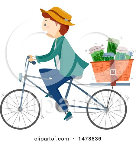 Clipart of a Happy Man Riding a Bicycle with Herbal Medicines in a Basket - Royalty Free Vector Illustration by BNP Design Studio