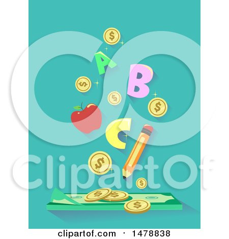 Clipart of a Pencil Apple Letters and Coins over Cash Money - Royalty Free Vector Illustration by BNP Design Studio