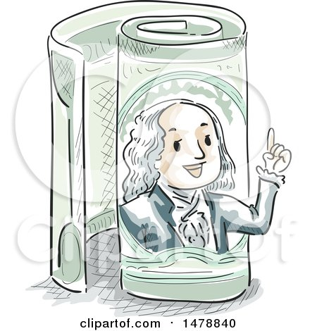 Clipart of a Sketched Benjamin Franklin Emerging from a Rolled One Hundred Dollar Bill - Royalty Free Vector Illustration by BNP Design Studio