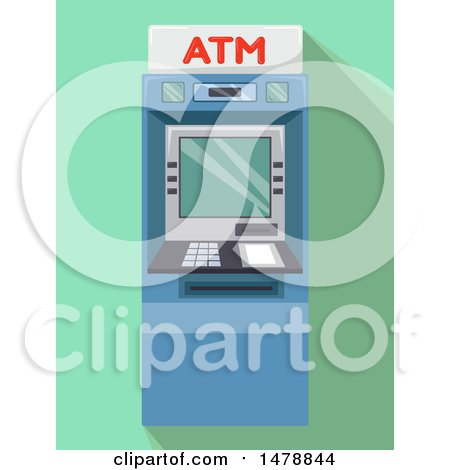 Clipart of an ATM Machine over Green - Royalty Free Vector Illustration by BNP Design Studio