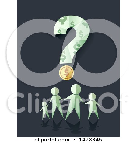 Clipart of a Paper People Family Under a Dollar Coin and Question Mark - Royalty Free Vector Illustration by BNP Design Studio