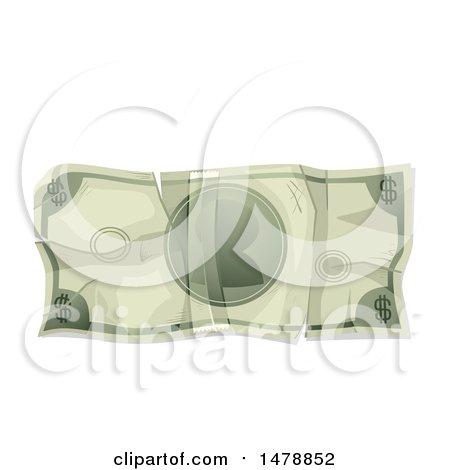 Clipart of a Crumpled Cash Money Dollar Bill - Royalty Free Vector Illustration by BNP Design Studio