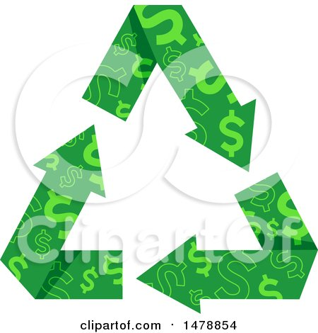 Clipart of a Green Recycle Arrows with a Dollar Pattern - Royalty Free Vector Illustration by BNP Design Studio
