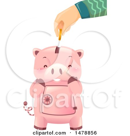 Clipart of a Hand Inserting a Coin into a Cute Piggy Bank - Royalty Free Vector Illustration by BNP Design Studio
