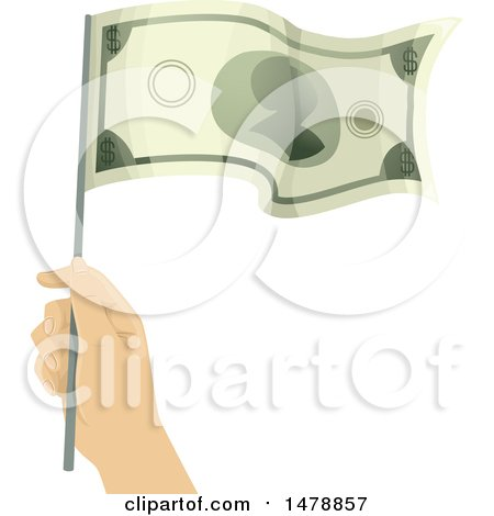 Clipart of a Hand Waving a Dollar Bill Flag - Royalty Free Vector Illustration by BNP Design Studio
