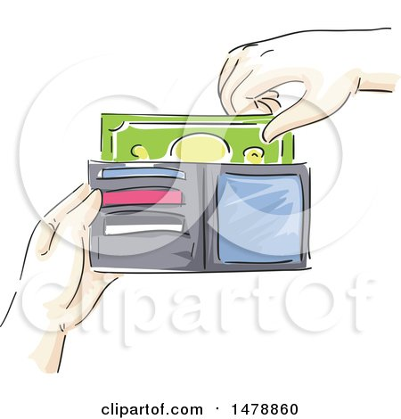 Clipart of a Sketched Hand Taking or Inserting Cash Money in a Wallet - Royalty Free Vector Illustration by BNP Design Studio