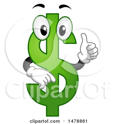 Clipart of a Green USD Currency Symbol Giving a Thumb up - Royalty Free Vector Illustration by BNP Design Studio