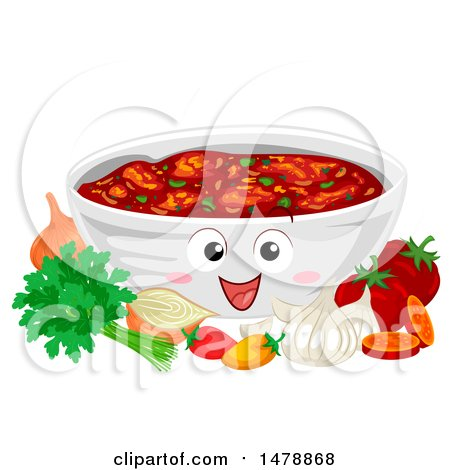 Clipart of a Bowl Mascot Full of Salsa, with Ingredients - Royalty Free Vector Illustration by BNP Design Studio