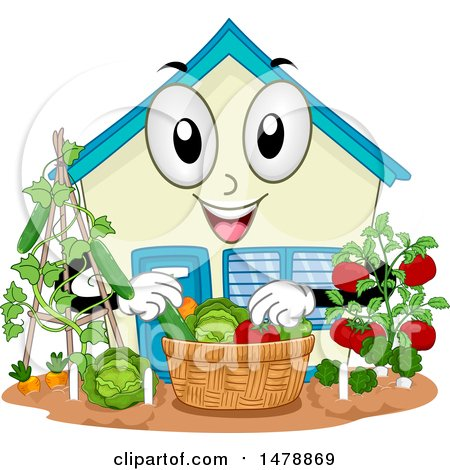 Clipart of a School Building Mascot Harvesting Produce from a Garden - Royalty Free Vector Illustration by BNP Design Studio