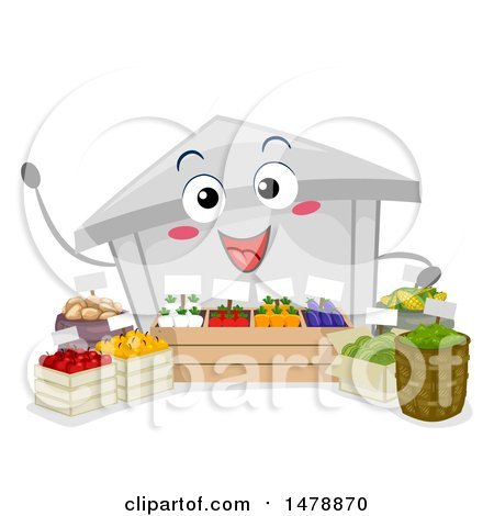 Clipart of a Farmers Market Mascot with Produce - Royalty Free Vector Illustration by BNP Design Studio