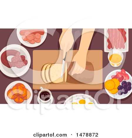 Clipart of a Pair of Hands Slicing Bread - Royalty Free Vector Illustration by BNP Design Studio