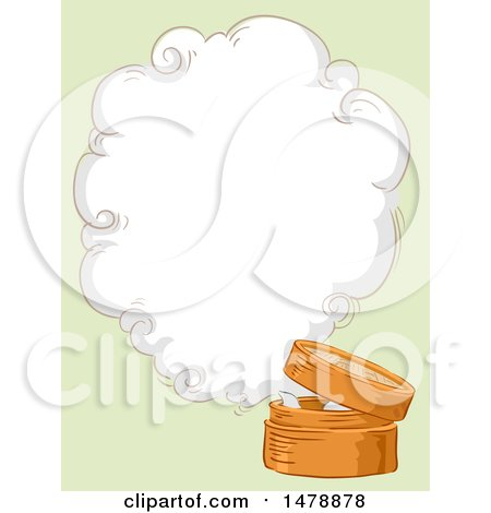 Clipart of a Sketched Bamboo Steamer with a Steam Cloud and Copyspace - Royalty Free Vector Illustration by BNP Design Studio