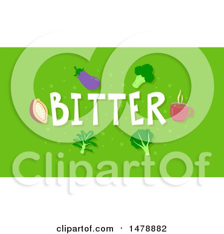 Clipart of Bitter Foods and Text on Green - Royalty Free Vector Illustration by BNP Design Studio