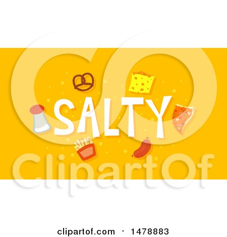Clipart of Salty Foods and Text on Orange - Royalty Free Vector Illustration by BNP Design Studio