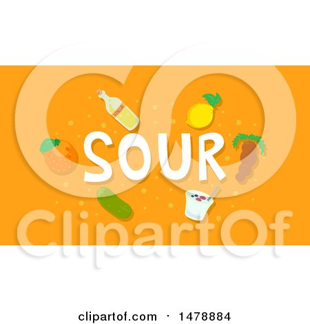 Clipart of Sour Foods and Text on Orange - Royalty Free Vector Illustration by BNP Design Studio