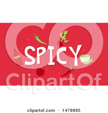 Clipart of Spicy Foods and Text on Red - Royalty Free Vector Illustration by BNP Design Studio