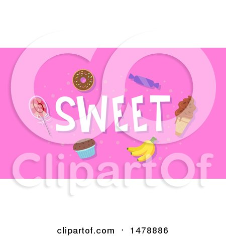 Clipart of Sweet Foods and Text on Pink - Royalty Free Vector Illustration by BNP Design Studio