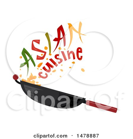 Wok with Asian Cuisin Text Posters, Art Prints