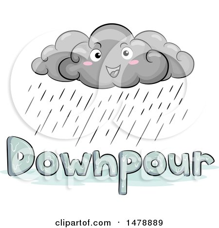 Clipart of a Happy Cloud Character over Downpour Text - Royalty Free Vector Illustration by BNP Design Studio