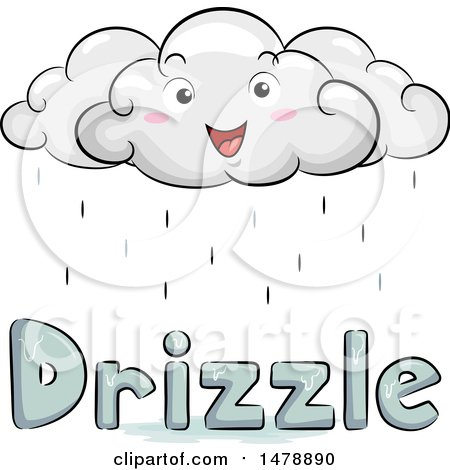 Clipart of a Happy Cloud Character over Drizzle Text - Royalty Free Vector Illustration by BNP Design Studio