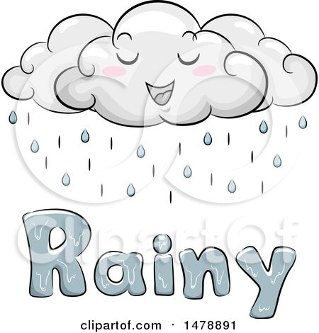 Clipart of a Happy Cloud Character over Rainy Text - Royalty Free Vector Illustration by BNP Design Studio