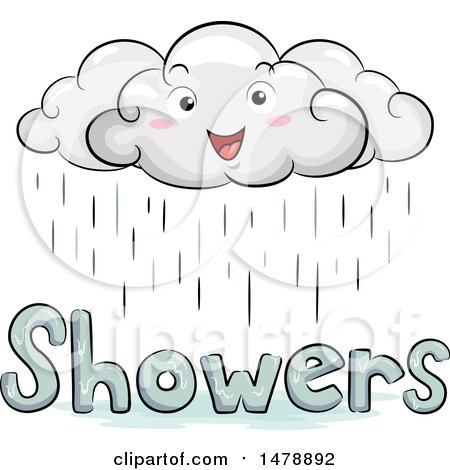 Clipart of a Happy Cloud Character over Showers Text - Royalty Free Vector Illustration by BNP Design Studio