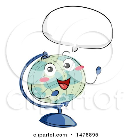Clipart of a Desk Globe Mascot Talking - Royalty Free Vector Illustration by BNP Design Studio