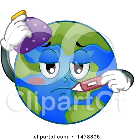 Clipart of a Sick Planet Earth with an Ice Pack and Thermometer - Royalty Free Vector Illustration by BNP Design Studio