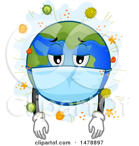 Clipart of a Sick Planet Earth Wearing a Mask, Surrounded by Viruses - Royalty Free Vector Illustration by BNP Design Studio