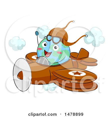 Clipart of a Globe Mascot Aviatior Flying a Plane - Royalty Free Vector Illustration by BNP Design Studio