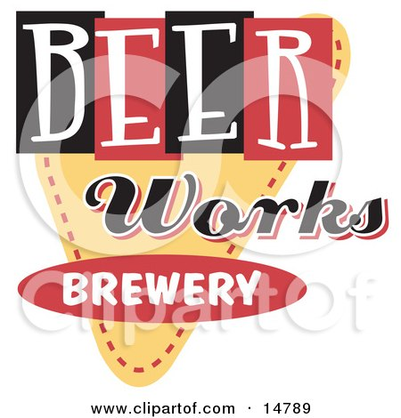 Vintage Beer Works Brewery Advertisement Clipart Illustration by Andy Nortnik