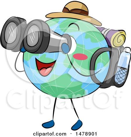 Clipart of a Globe Mascot Traveler Looking Through Binoculars - Royalty Free Vector Illustration by BNP Design Studio