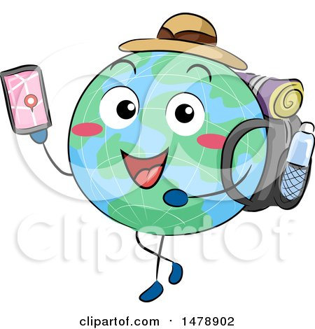 Clipart of a Globe Mascot Traveler Using a GPS App on a Smart Phone - Royalty Free Vector Illustration by BNP Design Studio
