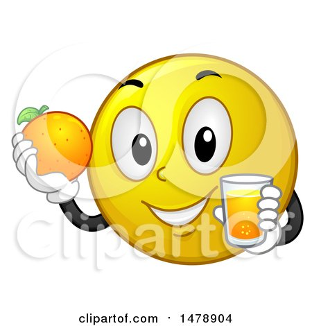 Clipart of a Healthy Yellow Smiley Face Emoji Holding a Glass of Orange Juice and Fruit - Royalty Free Vector Illustration by BNP Design Studio