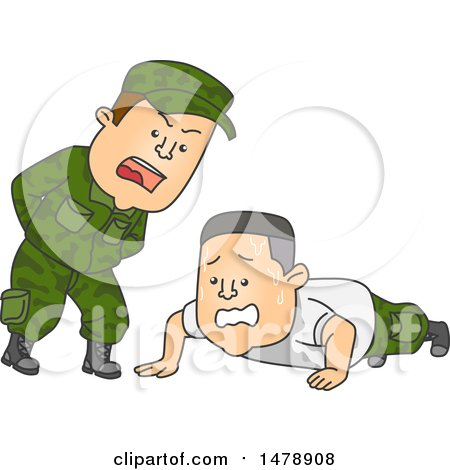 Clipart of a Male Officer Shouting at an Army Soldier Doing Push Ups - Royalty Free Vector Illustration by BNP Design Studio