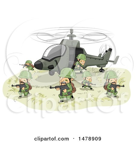 Clipart of a Team of Soldiers Emerging from a Helicopter with Rifles - Royalty Free Vector Illustration by BNP Design Studio