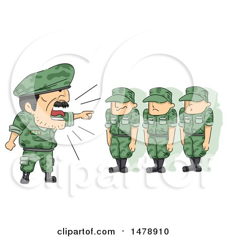 Clipart of a Drill Seargant Shouting at Soldiers - Royalty Free Vector Illustration by BNP Design Studio