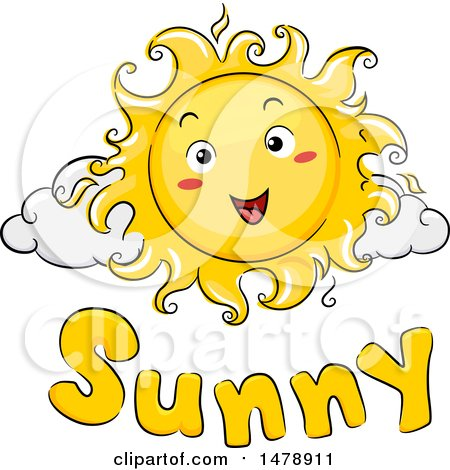 Clipart of a Happy Sun Mascot over Sunny Text - Royalty Free Vector Illustration by BNP Design Studio
