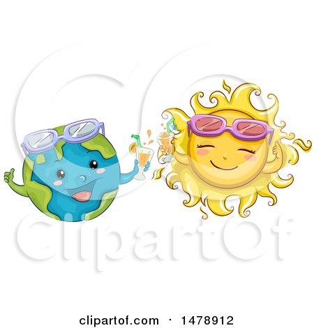 Clipart of Happy Sun and Earth Characters with Cocktails and Sunglasses - Royalty Free Vector Illustration by BNP Design Studio