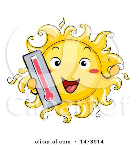 Clipart of a Happy Sun Mascot Holding out a Thermometer - Royalty Free Vector Illustration by BNP Design Studio