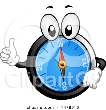 Clipart of a Compass Mascot Giving a Thumb up - Royalty Free Vector Illustration by BNP Design Studio