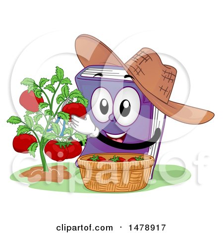 Clipart of a Book Mascot Wearing a Hat and Harvesting Tomatoes - Royalty Free Vector Illustration by BNP Design Studio