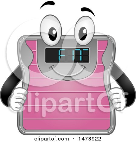 Clipart of a Weight Scale Mascot Showing Fit on the Screen - Royalty Free Vector Illustration by BNP Design Studio