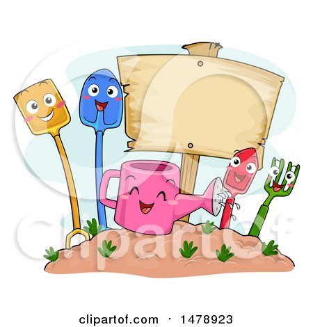 Clipart of a Group of Shovel, Watering Can, Garden Fork, Trowel, Spade Mascots by a Blank Sign - Royalty Free Vector Illustration by BNP Design Studio