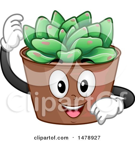 Clipart of a Succulent Plant Mascot - Royalty Free Vector Illustration by BNP Design Studio