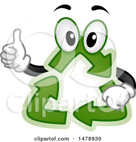 Clipart of a Recycle Arrows Mascot Giving a Thumb up - Royalty Free Vector Illustration by BNP Design Studio