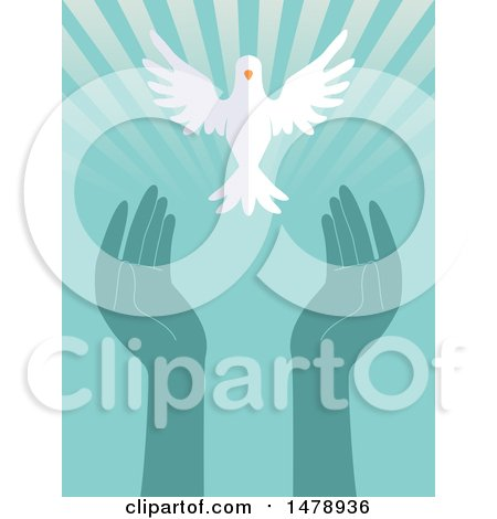 Clipart of a White Peace Dove Flying over Hands and Rays - Royalty Free Vector Illustration by BNP Design Studio