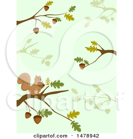 Clipart of a Background of Oak Branches and a Squirrel - Royalty Free Vector Illustration by BNP Design Studio