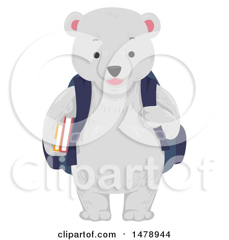 Clipart of a Student Polar Bear Wearing a Backpack - Royalty Free Vector Illustration by BNP Design Studio